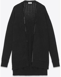 Saint Laurent Long Knit College Cardigan With Chain Trim - Black