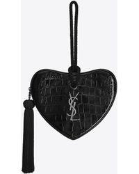 Saint Laurent Heart Logo Clutch - Black