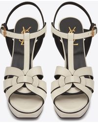 Saint Laurent Tribute Platform Sandals In Patent Leather - Black