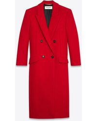 Saint Laurent Double-breasted Long Coat In Cashmere - Red