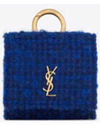 Saint Laurent Étui airpods pro en tweed bouclé et cuir lisse - Bleu