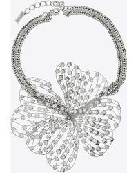 Saint Laurent Halskette mit kleeblatt in spitze aus kristall - Mehrfarbig