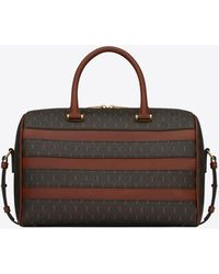 Saint Laurent Le Monogramme Duffle 6 In Canvas And Smooth Leather - Brown