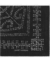 Saint Laurent Bandana en étamine de laine à pois - Noir