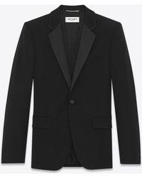 Saint Laurent - Tuxedo Jacket In Grain De Poudre - Lyst