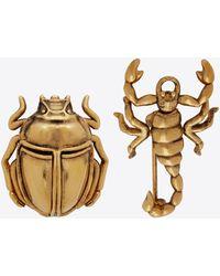 Saint Laurent Broches scorpion et scarabée en métal - Métallisé