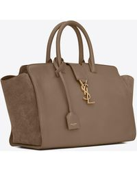 5e58715fbc Saint Laurent - Small Monogram Downtown Cabas Leather And Suede Tote Bag -  Lyst
