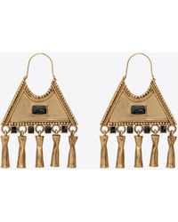 Saint Laurent Triangle Charm Earrings In Metal And Enamel - Metallic