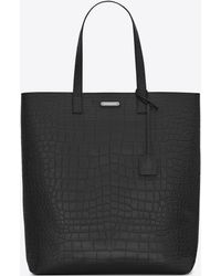 Saint Laurent Bold Tote Bag In Crocodile Embossed Leather - Black