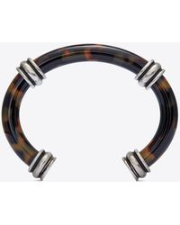 Saint Laurent Bracciale bangle in metallo e resina con motivo tartarugato - Metallizzato