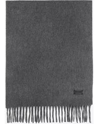 Saint Laurent Knit Fringed Scarf In Cashmere - Gray