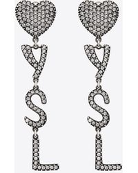Saint Laurent YSL heart earrings in brass and crystal - Metallizzato