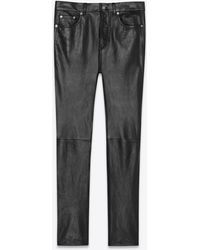 Saint Laurent Cropped Straight-cut Leather Pants In Waxed Lambskin - Black