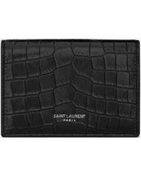 Saint Laurent Porte-cartes de visite en cuir embossé crocodile - Noir