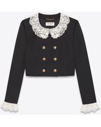 Saint Laurent Kurze jacke aus wolltwill mit floraler spitze - Schwarz