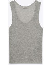 Saint Laurent Striped Monogram Tank Top In Linen Cotton Jersey - Grey