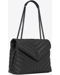 "Saint Laurent Loulou medium en cuir matelassé ""y"" - Noir"