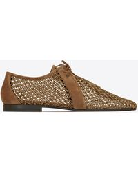 Saint Laurent Timothee Derbies In Fishnet And Smooth Leather - Brown