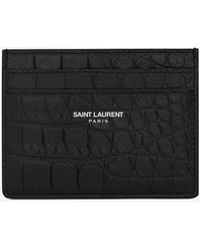 Saint Laurent - Card Case In Stamped Crocodile Leather - Lyst
