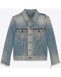 Saint Laurent Destroyed Jacket In Rodeo Blue Denim