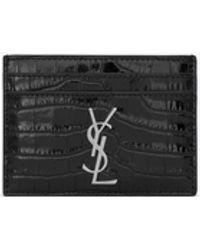 Saint Laurent Porta carte nero in coccodrillo stampato
