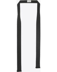 Saint Laurent - Cravate foulard à pois en crêpe de Chine noire et ivoire - Lyst