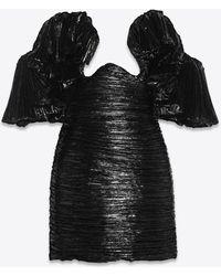 Saint Laurent Off-the-shoulder Cut-out Bustier Mini Dress In Pleated Lamé Velvet - Black