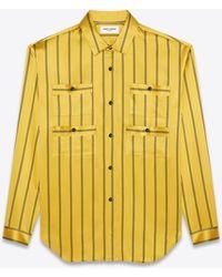 Saint Laurent Bluse aus seide mit doppeltem streifen und vier taschen - Gelb