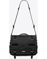 Saint Laurent Army Pouch In Smooth Leather With Studs - Black