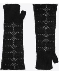 Saint Laurent Knit Wool Blend Mittens With An Arrow Pattern - Black