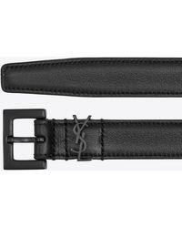 Saint Laurent Cintura monogram con fibbia quadrata in pelle liscia - Nero