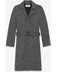 Saint Laurent Belted Overcoat In Wool Twill - Black