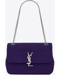 "Saint Laurent Jamie Medium In ""carré Rive Gauche"" Jersey - Purple"