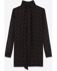 Saint Laurent Lavallière-neck Dress - Black