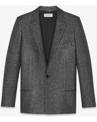 Saint Laurent Cardigan jacket in lamé Glen plaid - Nero