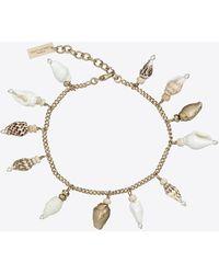 Saint Laurent Bracelet à charms coquillages naturels, en métal et bois - Noir