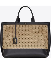 Saint Laurent Le monogramme cabas in tela e morbida pelle - Neutro