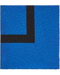 Saint Laurent Dotted Monogram Large Square Scarf In Silk Satin Jacquard - Blue