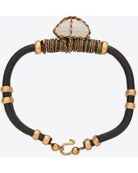 Saint Laurent MARRAKECH crystal bracelet in crinkled leather and metal - Nero