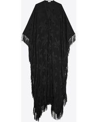 Saint Laurent Oversized Fringed Caftan In Silk Palm Jacquard - Black