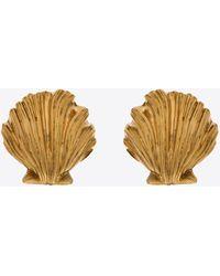 Saint Laurent Orecchini oversize con conchiglie in metallo - Metallizzato