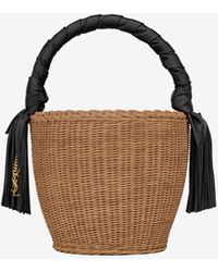 Saint Laurent Panier Round Bag In Wicker And Leather - Brown