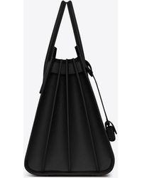 Saint Laurent Large SAC DE JOUR Carry All Bag nera in pelle martellata - Nero