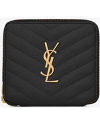 Saint Laurent MONOGRAM Compact zippered wallet in grain de poudre embossed leather - Nero