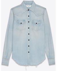 Saint Laurent Destroyed Classic Western Shirt In Dirty Sky Blue Denim