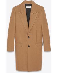 Saint Laurent Einreihiger mantel aus kaschmir - Natur