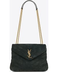 Saint Laurent Loulou Small Bag In Y-quilted Corduroy Suede - Multicolour
