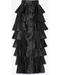Saint Laurent Tiered Ruffled Leather Maxi Skirt - Black