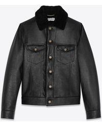 Saint Laurent Veste en cuir à poches boutonnées - Noir