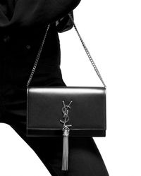 Saint Laurent KATE chain wallet with tassel in smooth leather embossed with little stars - Nero